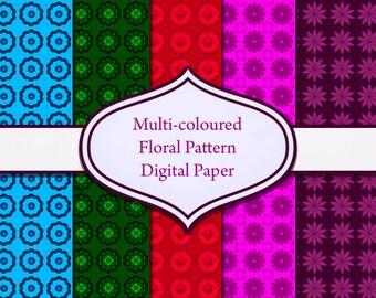 """Digital Floral Pattern Paper - 5 floral patterned designs, 5 sheets - 12x12"""", instant download"""