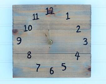 Gray Wooden Clock, Small Clock, Modern Clock, Modern Rustic Clock, Gray  Clock
