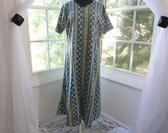 70s/80s Teal, Yellow, White, and Green Indian Cotton Dress, Medium, Large, XLarge