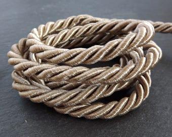 Latte Beige 7mm Twisted Rayon Satin Rope Silk Braid Cord - 3 Ply Twist - 1 meters - 1.09 Yards