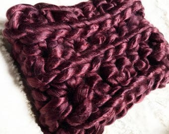 Leith Cowl in Burgundy. Handmade Crochet Silky Cozy Cowl. Ready to Ship