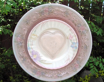 Pink Sandwich Glass Tiara Heart, Vintage KIG Pink Plate, Plate Flower, Yard Art, Close Out Sale