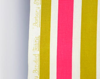 Vintage waverly barbary stripe upholstery fabric- large chartruese green and hot pink stripes on white cotton