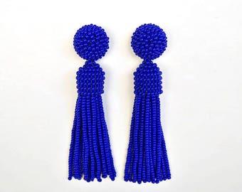 Oscar de la Renta earrings, beaded long tassel stud/clip earrings, Oscar earrings, drop earrings, dangle earrings, beaded tassel earrings