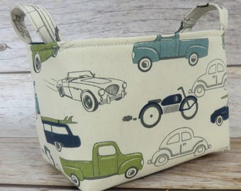 READY TO SHIP - Fabric Organizer Storage Bin Container Basket - Vintage Cars and Trucks Fabric - Nursery Baby Room Decor