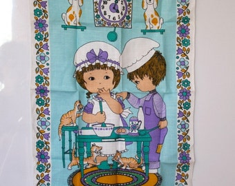 Good Friends - Too many Cooks, Irish Linen Kitchen Towel 70s
