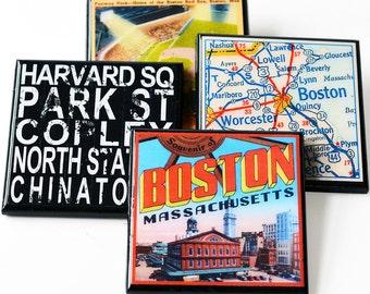 Boston Drink Coaster Set, Boston Massachussettes Wood Coasters, Boston Map, Subway Art Coaster, Boston Pride, Set of Four, Hostess Gift