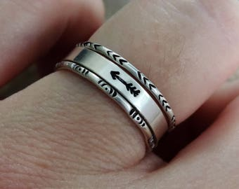 Sterling Silver Stacking Ring Bands | Set of 3 - Archery Theme | Flat & Gypsy Stax, Arrow, Bullseye, Fletching, Custom // Made to Order