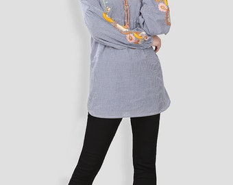 Hoi Polloi Embroidered Gingham Check Tunic Top