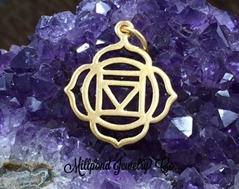 Chakra Charm, Root Chakra Charm, Red Chakra Charm, Gold Plated Sterling Silver Charm, PG0154