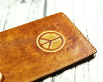 Christmas gift passport holder,personalized passport cover,leather passport holder,birthday gift,personalized gift,peace symbol monogram