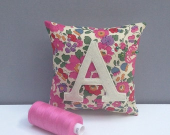 Initial Liberty Print Pin Cushion/Personalised Liberty Print Pincushion/Liberty Print sewing accessory/personalized pincushion