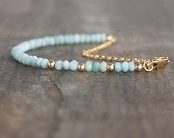 Larimar Bracelet, Gemstone Bracelet, Mum Gift for Her, Gift for Wife, Genuine Larimar Jewelry, Dainty Bracelet, Gemstone Jewelry, Boho