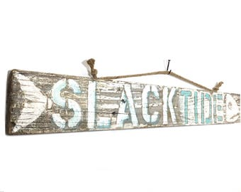 Fishbone Art -Adopt This Original Art Slack Tide Beach Sign on Reclaimed Distressed Wood Home Goods OOAK Mangoseed