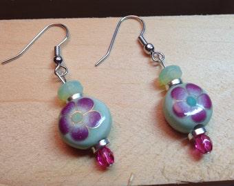 Green & Pink Flower Earrings