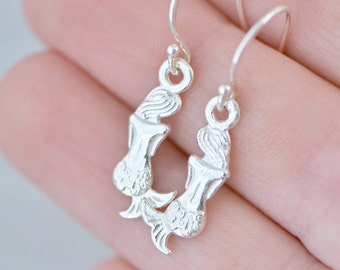 Sterling Silver Mermaid Earrings, Mermaid Jewelry, Silver Mermaid Dangle Earrings, Nautical Jewelry, Mermaid Dangles, Gift For Her