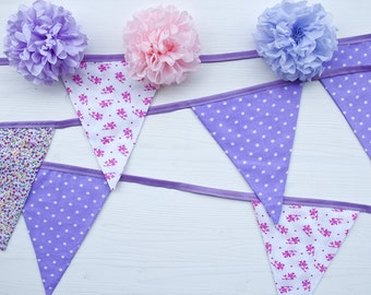 Fabric Bunting / Spring Banner with Shabby Chic Retro Floral Chnitz and Polka Dot Print