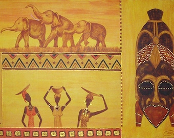 PAINTING acrylic painting Africa single model