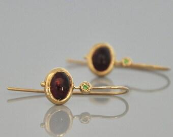 Gold Ganet Earring , Gold Dangle Earring , 14k Solid Gold Earring , Gold Drop Earring , Gold Hanging Earring , Gold Earring , Red Stone