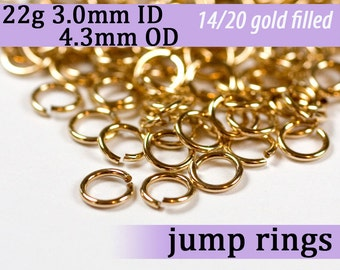 22g 3.0mm ID 4.3mm OD gold filled jump rings -- 22g3.00 goldfill jumprings 14k goldfilled