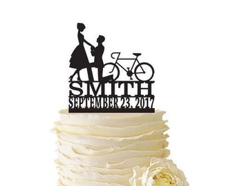 Proposal With Bike Personalized With Name and Date - Acrylic or Baltic Birch Wedding/Special Event Cake Topper - 155