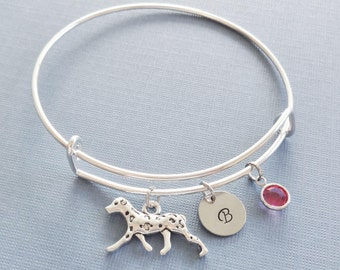 Dalmatian Bracelet, Dog, AKC Breed, Silver Initial Bangle, Personalized, Expandable, Charm Bracelet, Swarovski Birthstone, Friend Birthday