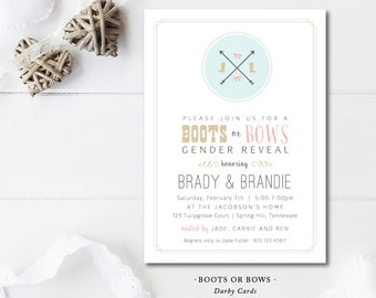 Boots or Bows Gender Reveal Party Invitations