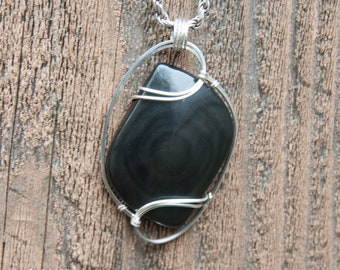 Gorgeous Rainbow Obsidian Wire Wrapped Pendant - Sterling Sliver Wire Wrapped Stone Pendant - Stone Wire Wrap Pendant - Obsidian Wire Wrap