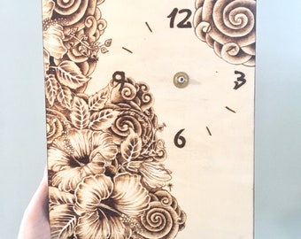Wood burned hibiscus flowers on cradled birch canvas with clock