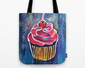Cupcake Tote Bag pre teen gift cupcake tote mom gift mom cake bag book bag cotton tote bag tween gift cupcakes girls bag beach bag dorm girl