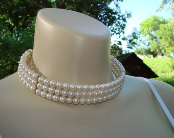 Three stranded beaded CHOKER.  Perfect wedding choker.  8mm beads sparkling white necklace.