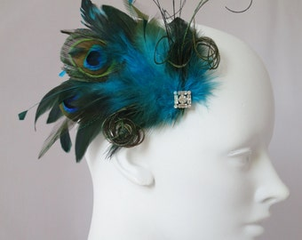 Peacock  Feather Hair Clip jewel tones, belle epoch, vintage style