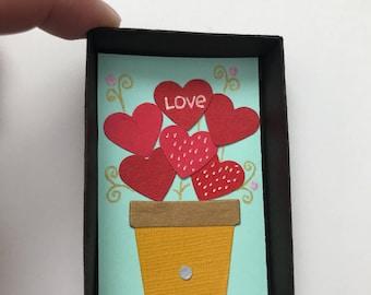 Anniversary greeting card / giftbox / matchbox / hearts / gift pin