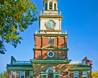 Independence Hall, Philadelphia, Historic Building, City Art, City Building, Philly, fine art print, matted or unmatted