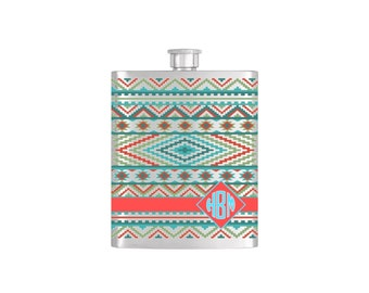 Aztec Southwestern Monogram Personalized Flask By Bottoms Up Flasks  - Stainless Steel 7oz Liquor Hip Flasks - Flask #392