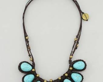 Handmade Turquoise Crochet Egg Necklace