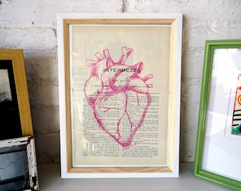 MAGENTA Heart. Printed drawing on recycled paper. 28x19cm. La petite illustration, decoration, home, art