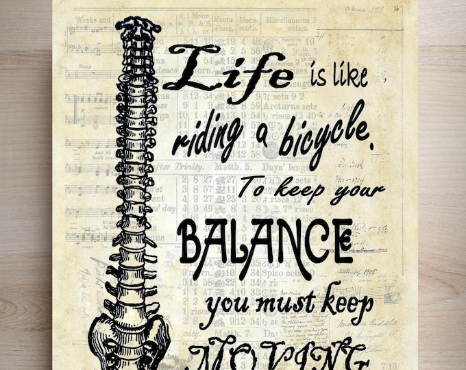 Spine Life Balance quote art print custom choice background antique vintage page beautiful paper chiropractor back dr gift decor SLQ1462