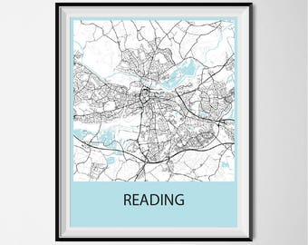 Reading Map Poster Print - Black and White