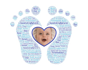 Personalised New Baby, Photo  Word Art, Heart Footprints, Births, Christening, Baptism Gift, Nursery Decor