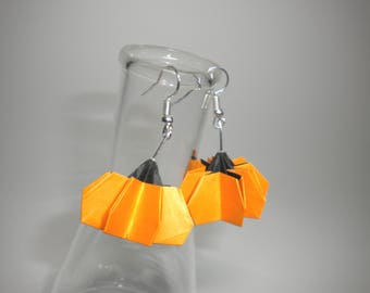 Origami Holiday Pumpkins Sterling Silver Dangle Earrings Choose Options