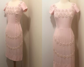 1950's-1960's Embroidered Beaded Wiggle Dress