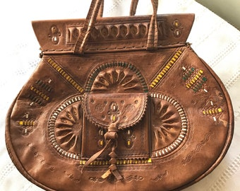 Vintage Leather Hand Tooled Moroccan Boho Handbag
