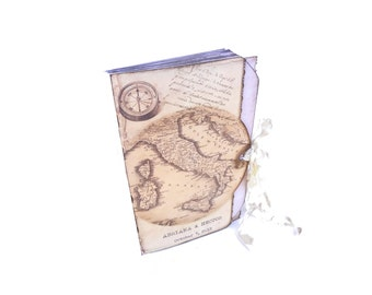 Travel Wedding Guest Book, Personalized Italy Journal, Destination Wedding Guest Book, Honeymoon Journal, Compass, Anniversary Journal