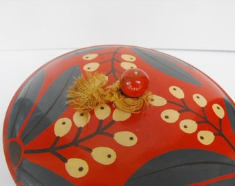 Vintage Asian Lacquer Bowl with Lid Red Black Green
