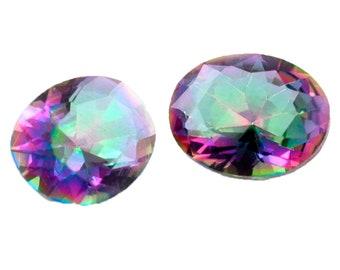 3 Carat Oval Faceted Mystic Quartz Gemstone Pair
