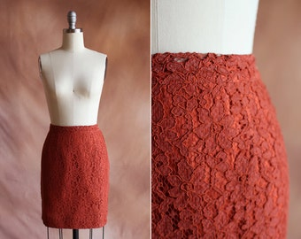 vintage 1960's rust orange lace high waisted mini pencil skirt / size m