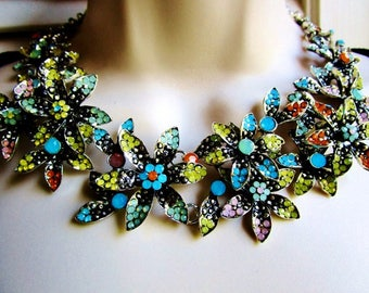 Flower Clusters Tutti Fruits  Choker Necklace Encrusted Multi Colorful Acrylic Stones Matching Ring Bride Fashionista Statement