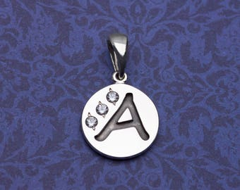 The Letter A. Sterling Silver. Alphabet Necklace. With Gemstones.