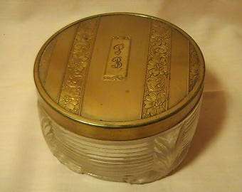 Old Vintage Glass Powder Jar with Gold-toned Cover, Vintage Powder Jar